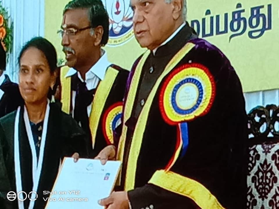 Bagheerthi amma mani iyyer award from the governor